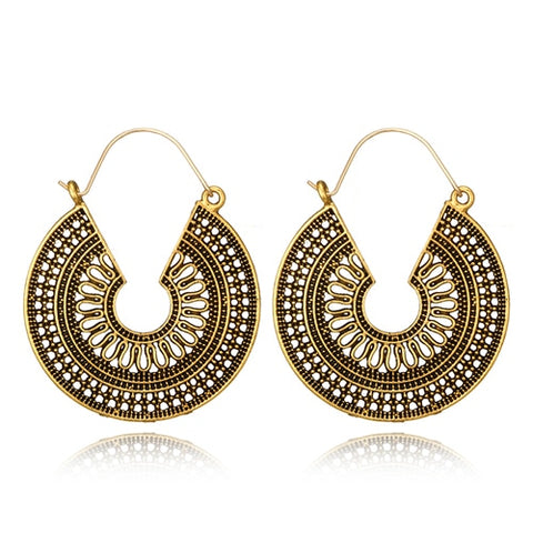 Antique Metal Disk Hoop Earrings - 3 Colors