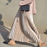 Metallic Pleated Maxi Skirts - 9 Colors