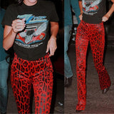 Red Leopard Print Velvet Pants