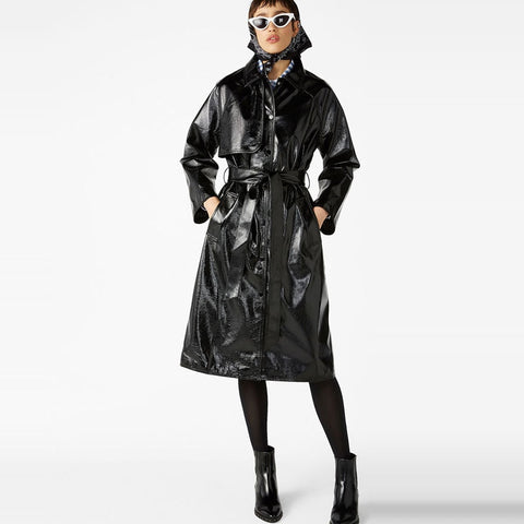 Barbara Faux Leather Trench Coat