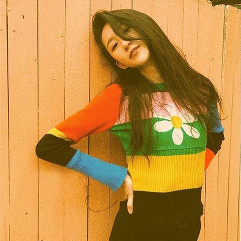 Paige Rainbow Stripe Retro Knit Sweater