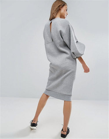 Jolene Puff Sleeve Sweatshirt Mini Dress - 2 Colors
