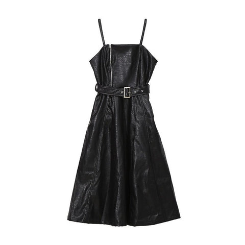 Moira Faux Leather Spaghetti Strap Dress with Belt