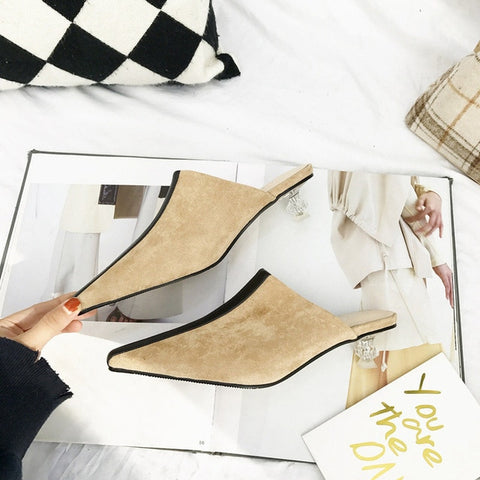 Ines Striped Suede Kitten Clear Heel Mules - 3 Colors