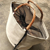 Wicker Handle & Bottom Canvas Tote