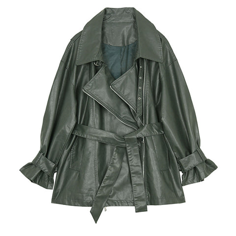 Daria Vintage Faux Leather Trench Jacket