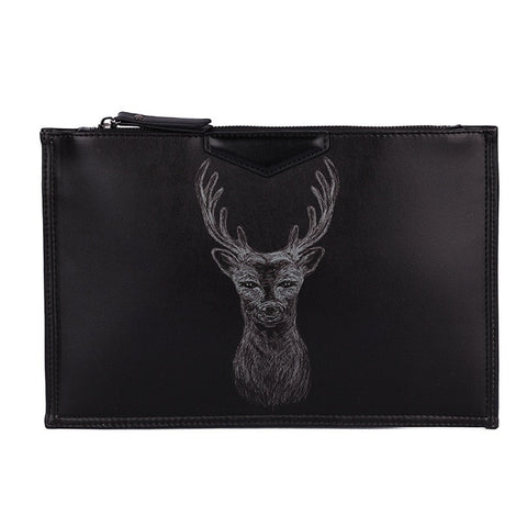 Deer Graphic Print Envelope Clutch Bag