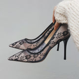 Lana Lace Mesh Stiletto Heels - 6 Colors