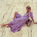 Floral Embroidered Maxi Folk Dress