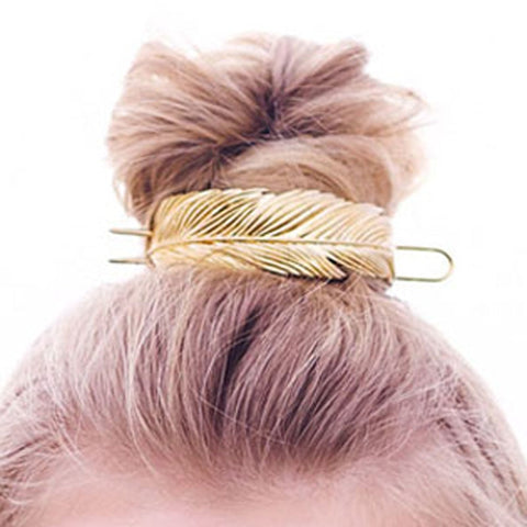 Amari Metal Feather Pattern Hair Bun Cuff - Gold or Silver