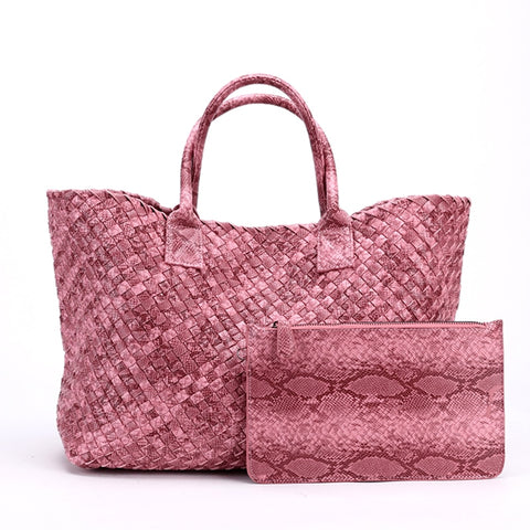 Tezza Serpentine Print Woven Tote Bag - 7 Colors