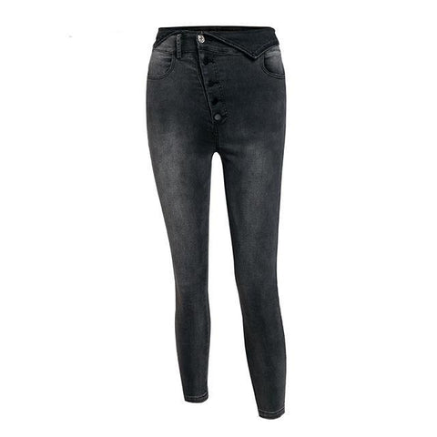 Isabis Side Button Fly Skinny Jeans