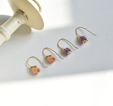 Tulip Flower Hook Earrings - 2 Colors
