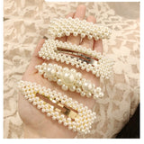 2 Pcs Pearl Embellished Barrette & Bobby PIns - 10 Styles