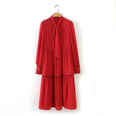 Marnie Red Ruffle Ribbon Tie Chiffon Dress