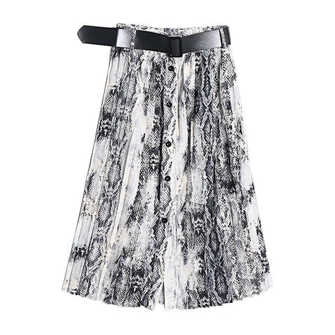 Belted White Snakeskin Prints Midi Skirt