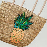 Metallic Pineapple Embellished Straw Tote