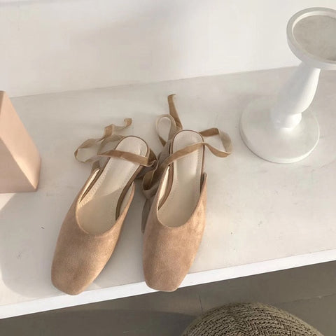 Suede Lace-Up Ballet Flat Slippers - 3 Colors