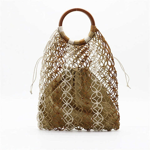 Stripe Pattern Crochet Net Bag with Ring Handle - 2 Colors