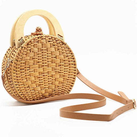 Wooden Handle Circle Straw Rattan Shoulder Bag - 2 Colors