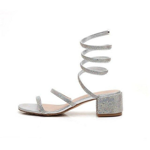 Crystal Embellished Wrap Around Gladiator Sandals - Silver or Gold