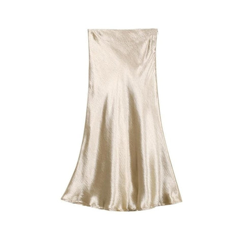 Bella Textured Solid Satin Mermaid Midi Skirt