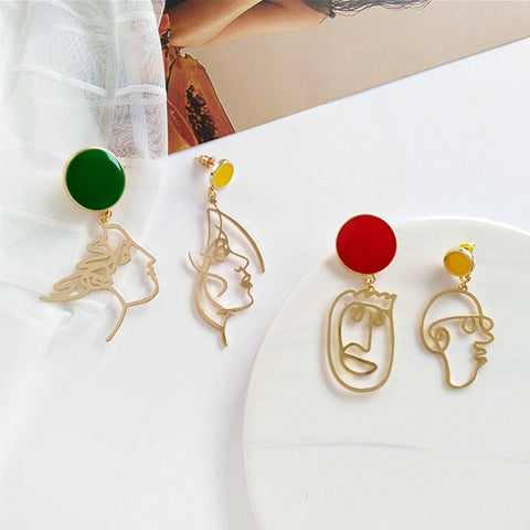 Face Drawing Color Button Drop Earrings - 2 Styles