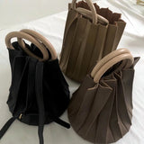 Margie Pleated Bucket Bag with Ring Handle Tote - 3 Colors