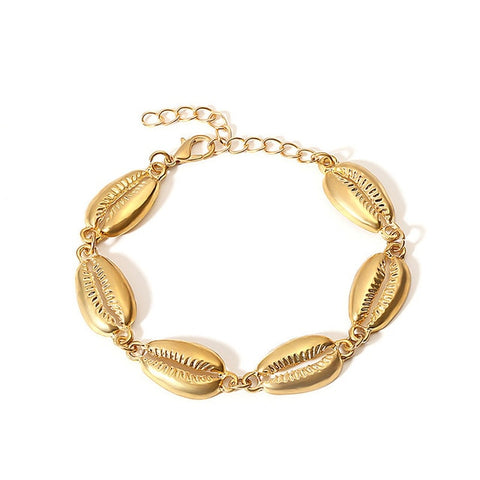 2 Piece Cora Cowrie Seashell Bracelet - Gold or Silver