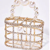 Luxe Rhinestone Cage With Pearl Handle Tote
