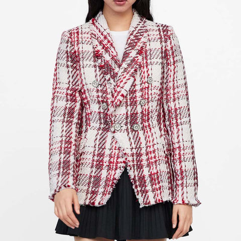 Cecila Vintage Tweed Plaid Blazer