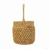 Lamari Pom Pom Pattern Straw Bucket Bag
