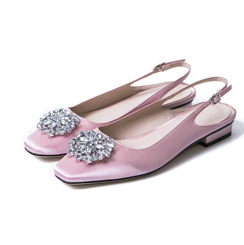Bejeweled Flat Slingback Satin Sandals