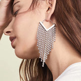 Rhinestone Cascade Tassel Hoop Earrings - 4 Colors