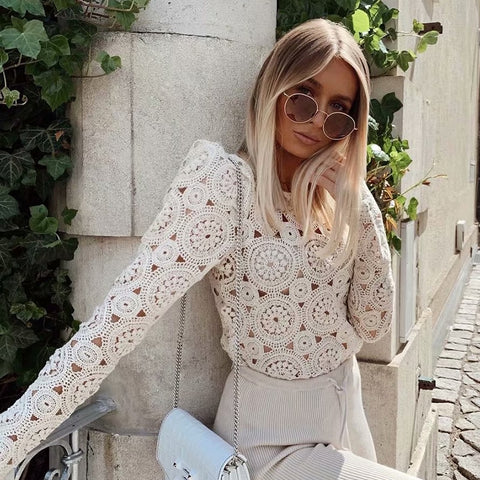Amanda Crochet Knit Blouse