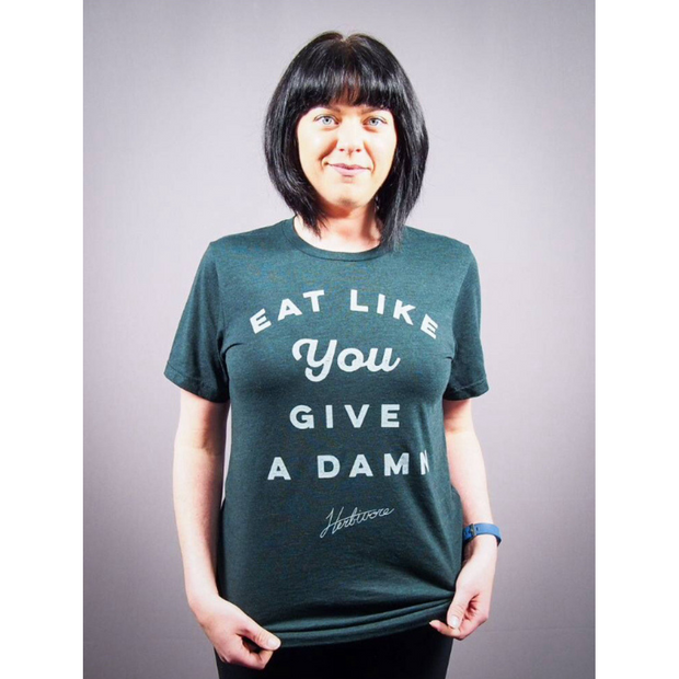 Eat Like You Give a Damn Emerald Unisex Tee - The Grinning Goat