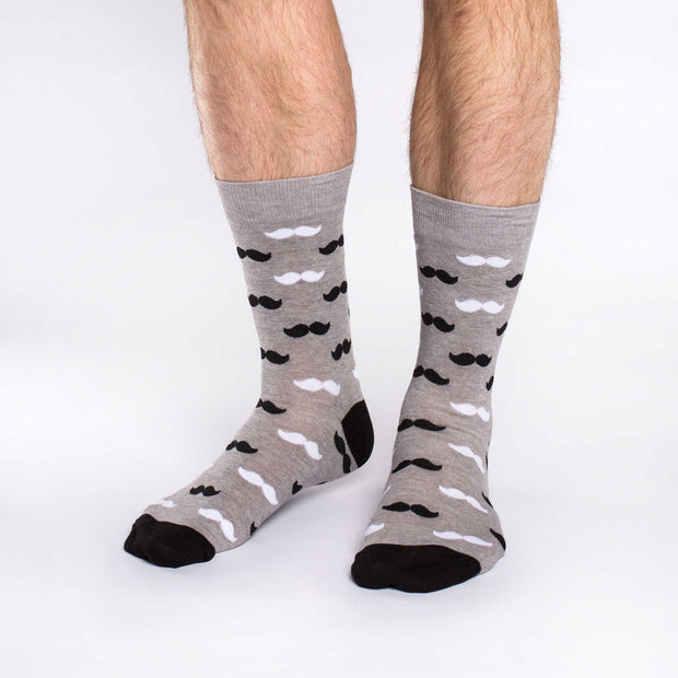 Moustache Crew Socks - Men's 7-12 - The Grinning Goat