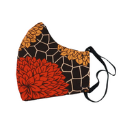 Face Mask - Red & Gold Blooms - Adult Medium