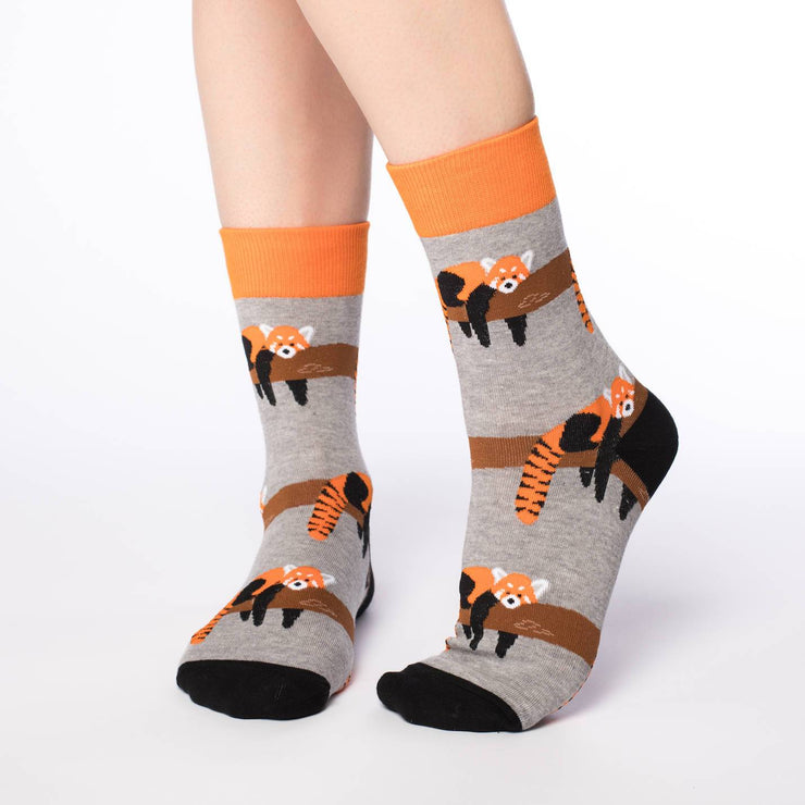 Red Panda Crew Socks - Women's 5-9 - The Grinning Goat