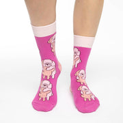 Poodles Hugging Crew Socks - Women's 5-9