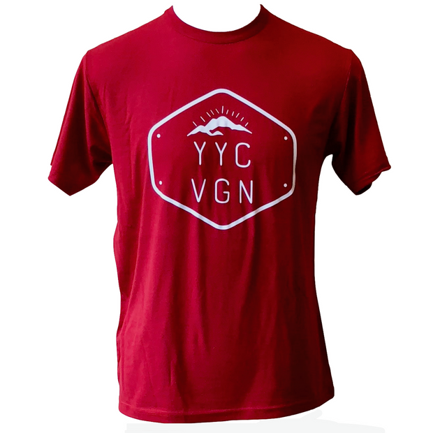 Calgary Vegan Unisex Crew Tee Red - The Grinning Goat
