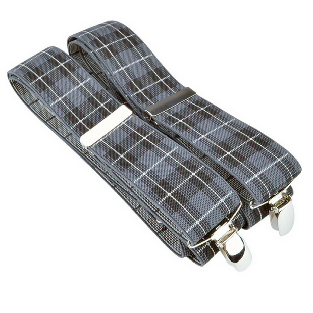 McGuinty Suspenders - Grey Plaid - The Grinning Goat