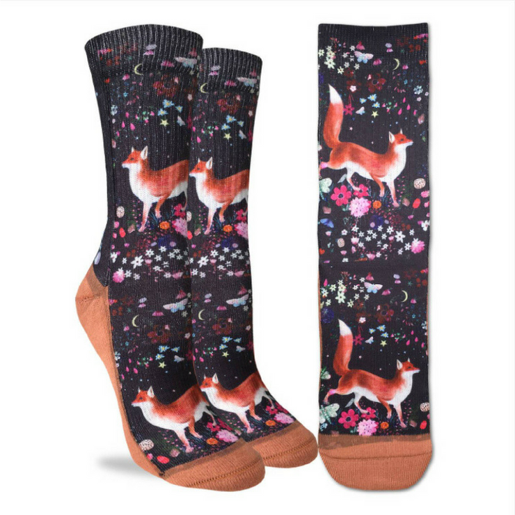 Floral Fox Active Fit Socks - The Grinning Goat