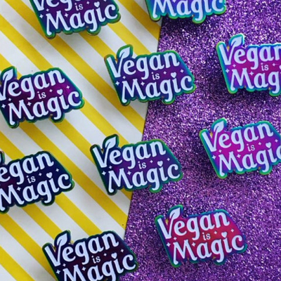 Vegan Is Magic Enamel Pin - The Grinning Goat
