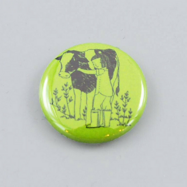 Cow Hugger Button - The Grinning Goat