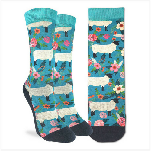 Floral Sheep Active Fit Socks - The Grinning Goat
