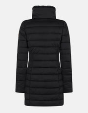 Women's Stretch Winter Coat with Stand Collar and Faux Fur Lining - Black