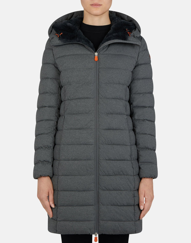 Women's Long Hooded Coat with Faux Fur Lining - Grey Melange