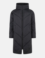 Women's Knee Length Hooded Puffer Coat - Black