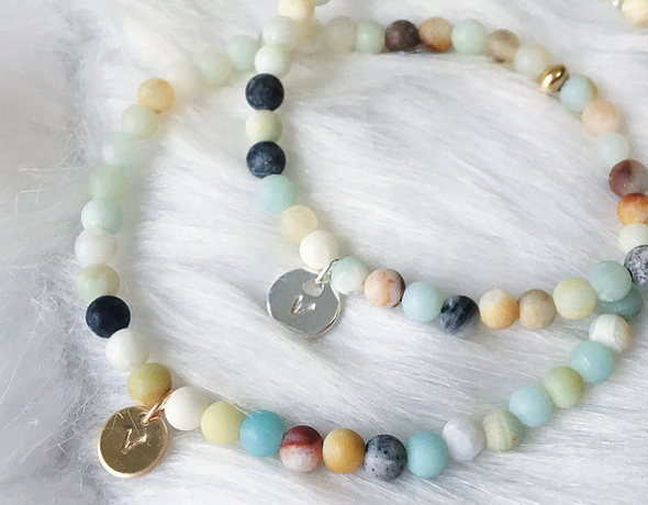 "Amazonite & Gold ""V"" Bracelet - The Grinning Goat"